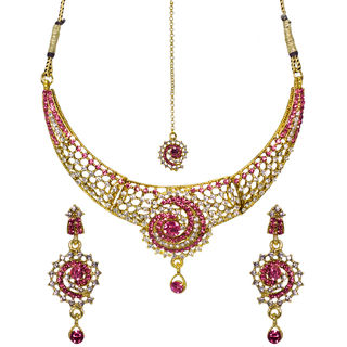 Ethnic Necklace Set Adorned With Pink And White Stones