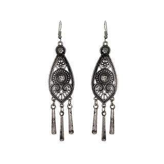 Oxidised Silver Long Drop Dangler Earrings For Women