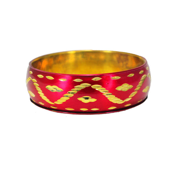 Beautiful Pink And Golden Bracelet Bangle For Girls, 2-6