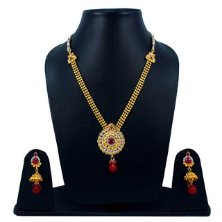 Traditional Maroon Stone Adorned Necklace Set