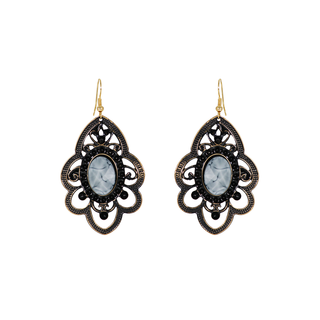 Flower Shape Metallic Dangler Adorned With Grey Stone