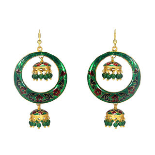 Alluring Double Jhumki Green Earring