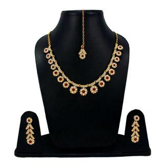 CZ And Maroon Stones Adorned Sleek Necklace Set