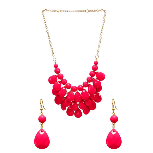 Stunning Fashion Necklace With Dangling Red Beads