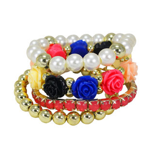 Multi Color Four Adjustable Bracelets For Girls, adjustable