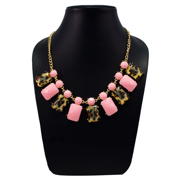 Stunning Pink And Leopard Print Stones Necklace