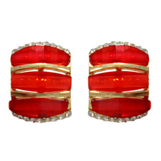 Pair Of Embellished Red Studs For Women