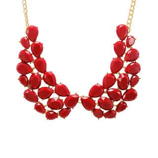 Maroon Stone Studded Alloy Fashion Necklace