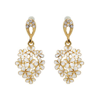 Floral Design White Stone Studded Gold Toned Earring