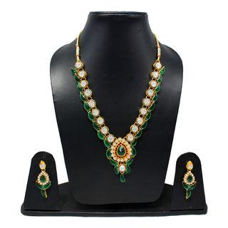 Green Leaf Design Necklace Set Adorned With White Stones