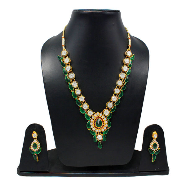 Green Leaf Design Necklace Set Adorned With White Stones
