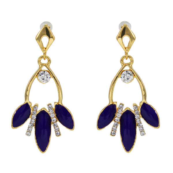 White Stone And Purple Leaf Design Adorned Earrings