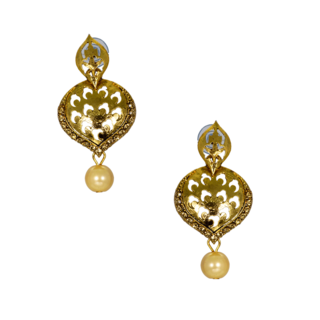 Stunning Golden Ethnic Earrings With Dangling Pearl