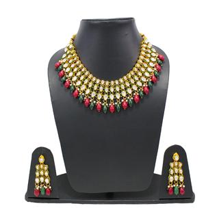 Alluring Red Green Kundan Bridal Necklace Set For Women