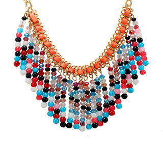 Gold Chain Fashion Necklace With Multi Color Dangling Beads