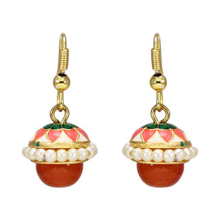 Orange Meenakari Jhumki Embellished With Pearl