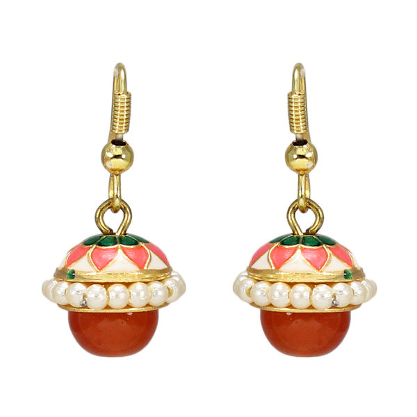 Orange Meenakari Jhumki Embellished With Pearl