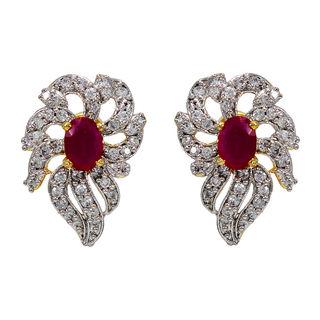 Pink Stone And American Diamond Adorned Studs