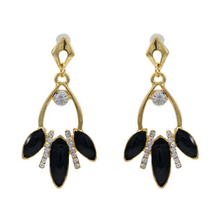 White Stone And Black Leaf Design Adorned Earrings