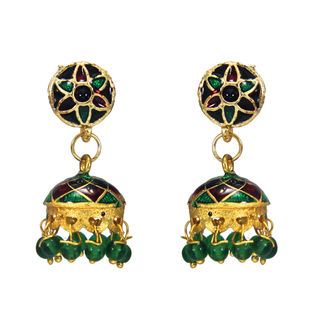 Traditional Jhumki In Green And Golden