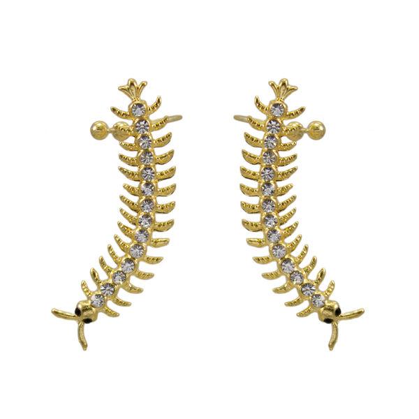 Golden And Silver Caterpillar Ear Cuff