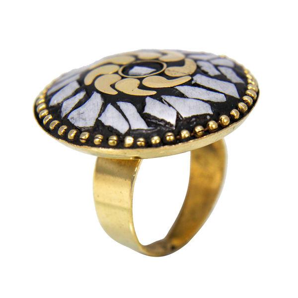 Round Shape Gold Tone Grey Stones Ring For Girls, adjustable