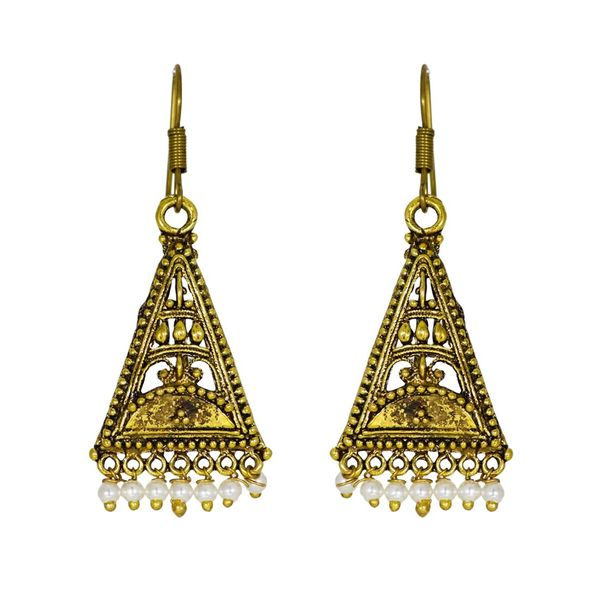 Oxidized Golden Earrings With Dangling Pearl Jhumkis
