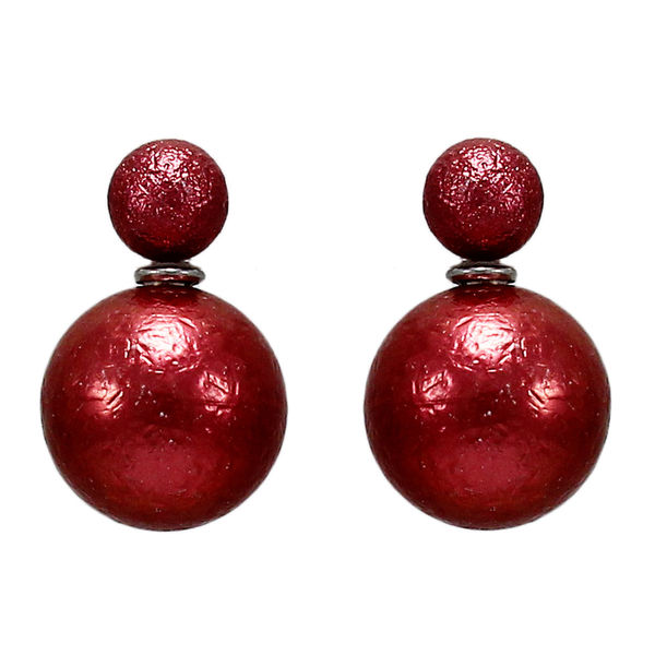 Maroon Reversible Fashion Studs For Girls