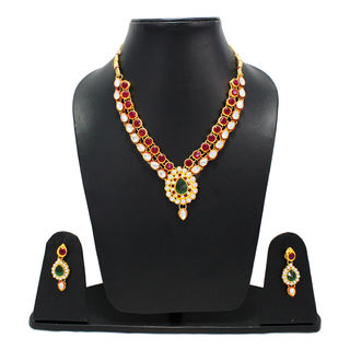 Necklace Set In Green Gemstone With Kundan For Women