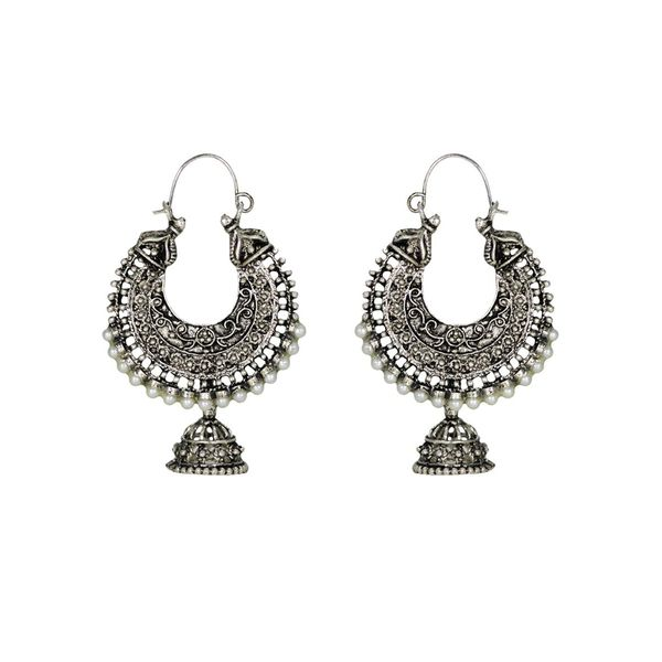 Stunning Silver Jhumki With Oxidised Finish For Women