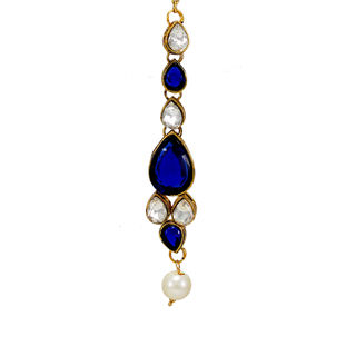 Blue And White Maang Tikka With Dangling Pearl