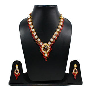 Red Leaf Design Necklace Set Adorned With White Stones