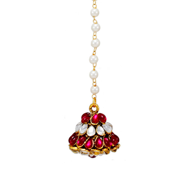 Pink And White Kundan Adorned Maang Tikka For Women