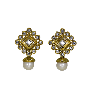 Golden Stud Earrings Studded With Pearl And Silver Stones