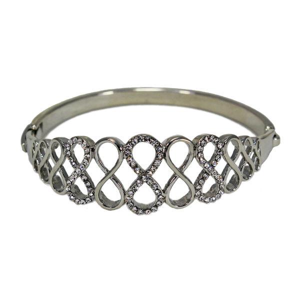 Silver Finish Fashion Bracelet Adorned With White Stones, free size