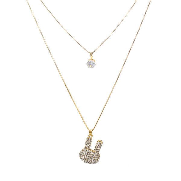 Adorable Golden Double Chain Fashion Pendant