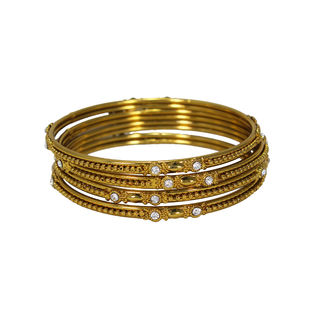 Gold Tone 4 PCS Bangles Set Studded With CZ Stones For Women, 2-10