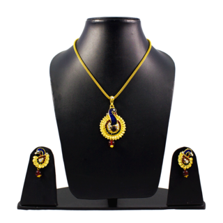 Red Green Peacock Pendant Set With Golden Chain For Women