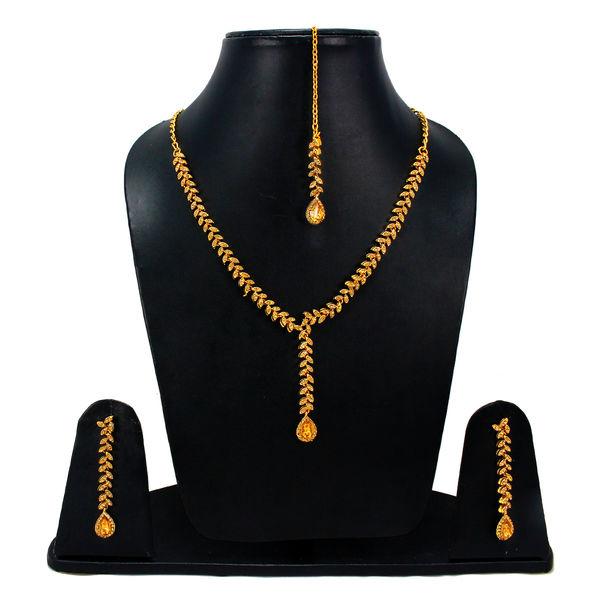 Golden Stone Stylish Necklace With CZ Stones
