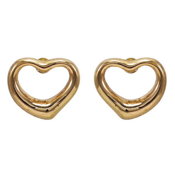 Gold Tone Heart Shape Studs For Girls