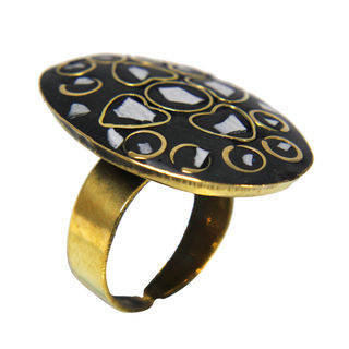 Grey And Golden Brass Fashion Ring, adjustable