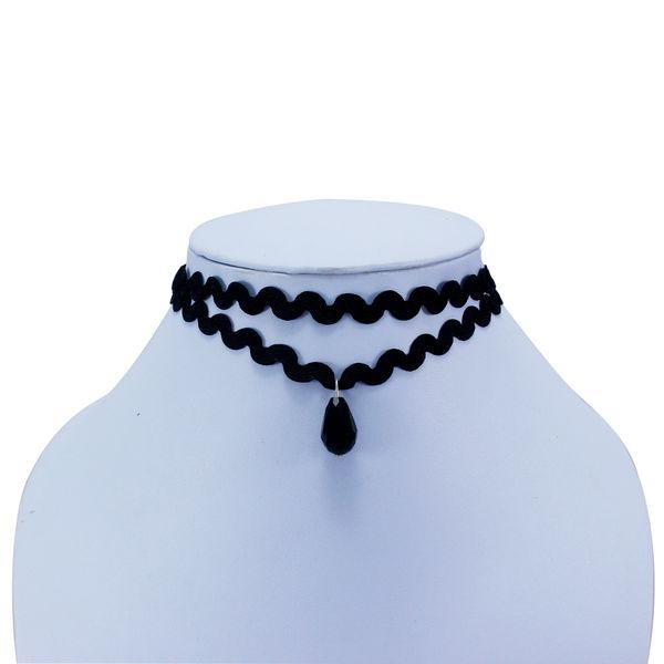 Black Choker With Dangling Black Bead For Women