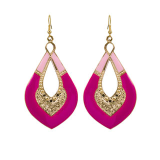 Pink And Golden Metallic Fashion Danglers For Girls