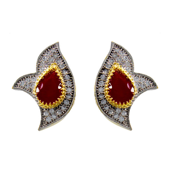 Pink Stone And American Diamond Adorned Fashion Earrings
