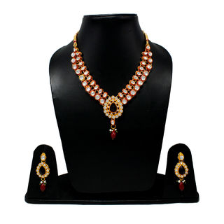 Red And White Combination Traditional Necklace