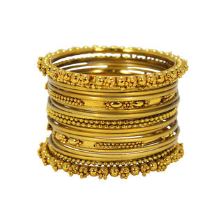Pack Of 20 Gold Tone Designer Bangles For Women, 2-8