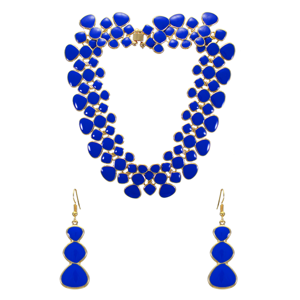 Gold Tone Blue Fashion Necklace With Earrings