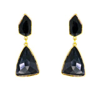Triangle Shape Danglers & Drops Black Earrings