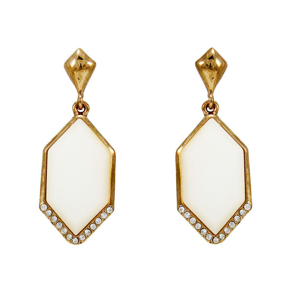 White Stone Adorned Gold Tone Earrings