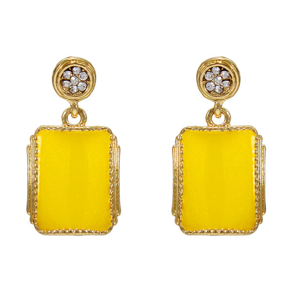 Trendy Gold Tone Yellow Danglers For Women